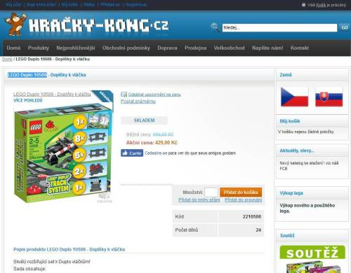 Pohled na detail produktu u původního e-shopu