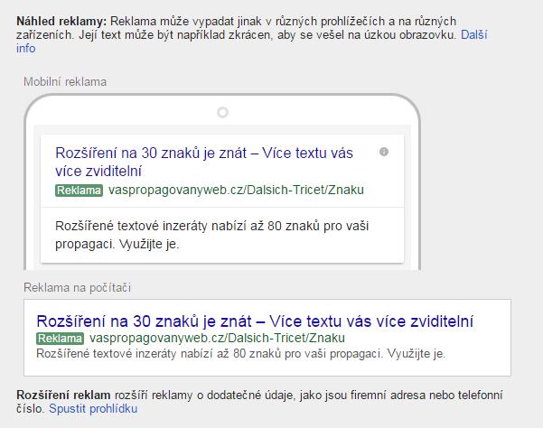 Náhled reklamy z výsledků vyhledávání v PC i mobilu