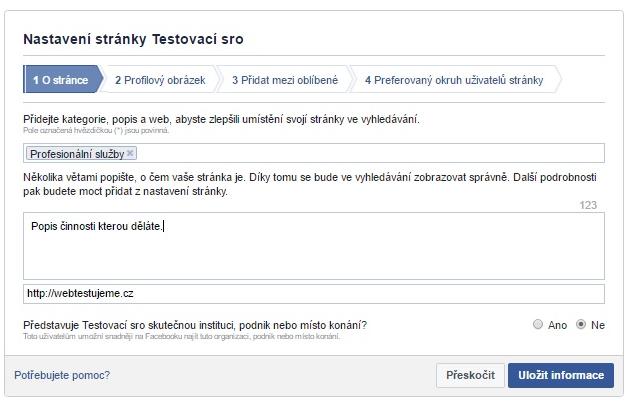 Nastavení Facebook stránky