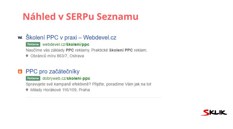 Náhled nových Sklik inzerátů v SERPu Seznamu