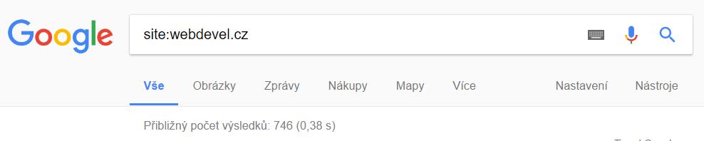 Operátor site: v Googlu