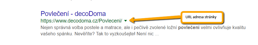 Podoba URL adresy ve výsledcích vyhledávání