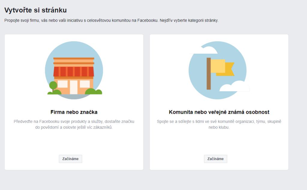 Tvorba firemní Facebook stránky - výběr kategorie