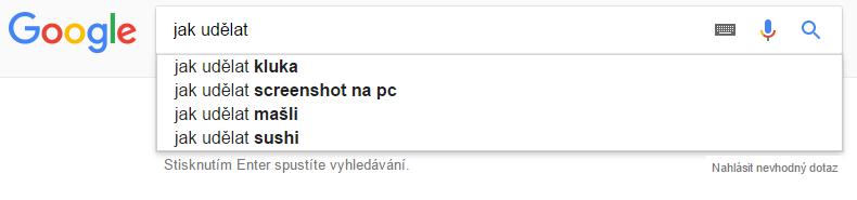 uživatelský dotaz z našeptávače Google