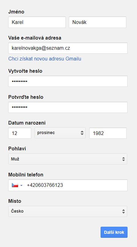 založení účtu Google Analytics
