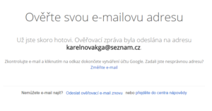 Google ověření e-mailové adresy