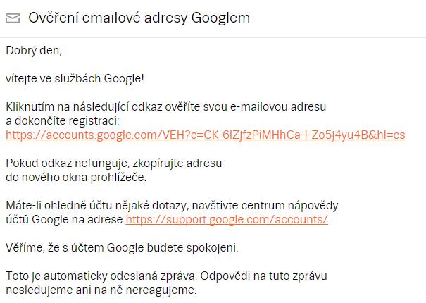 ověřovací e-mail Google
