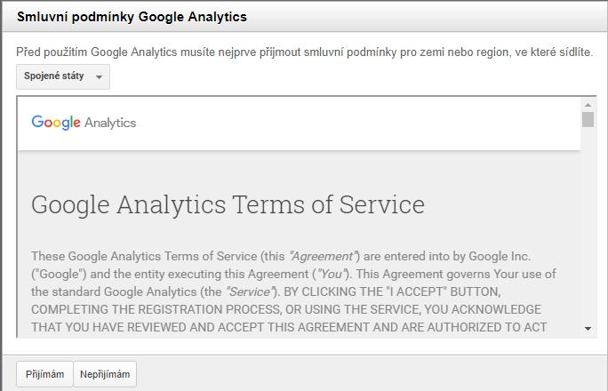 smluvní podmínky Google Analytics