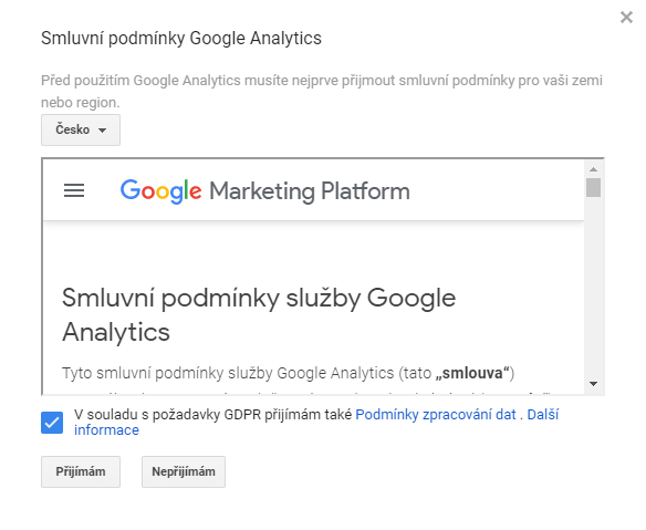 Smluvní podmínky služby Google Analytics