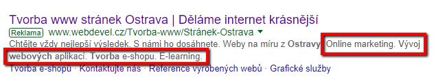 Rozšíření o popisky v Google Ads