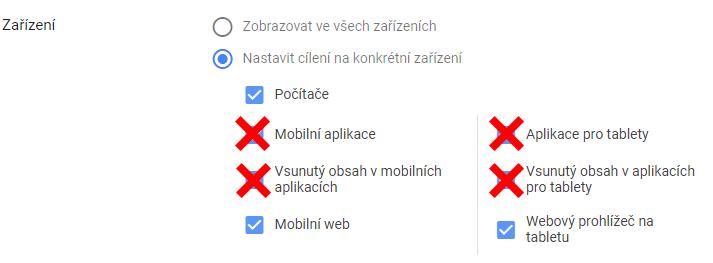 Odstranění cílení na aplikace