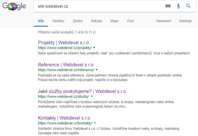Využití vyhledávací fráze site:vasedomena.cz