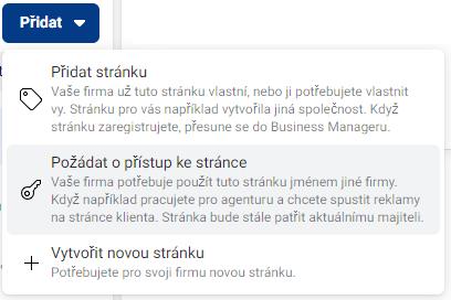 Přiřazení stránky do business manageru