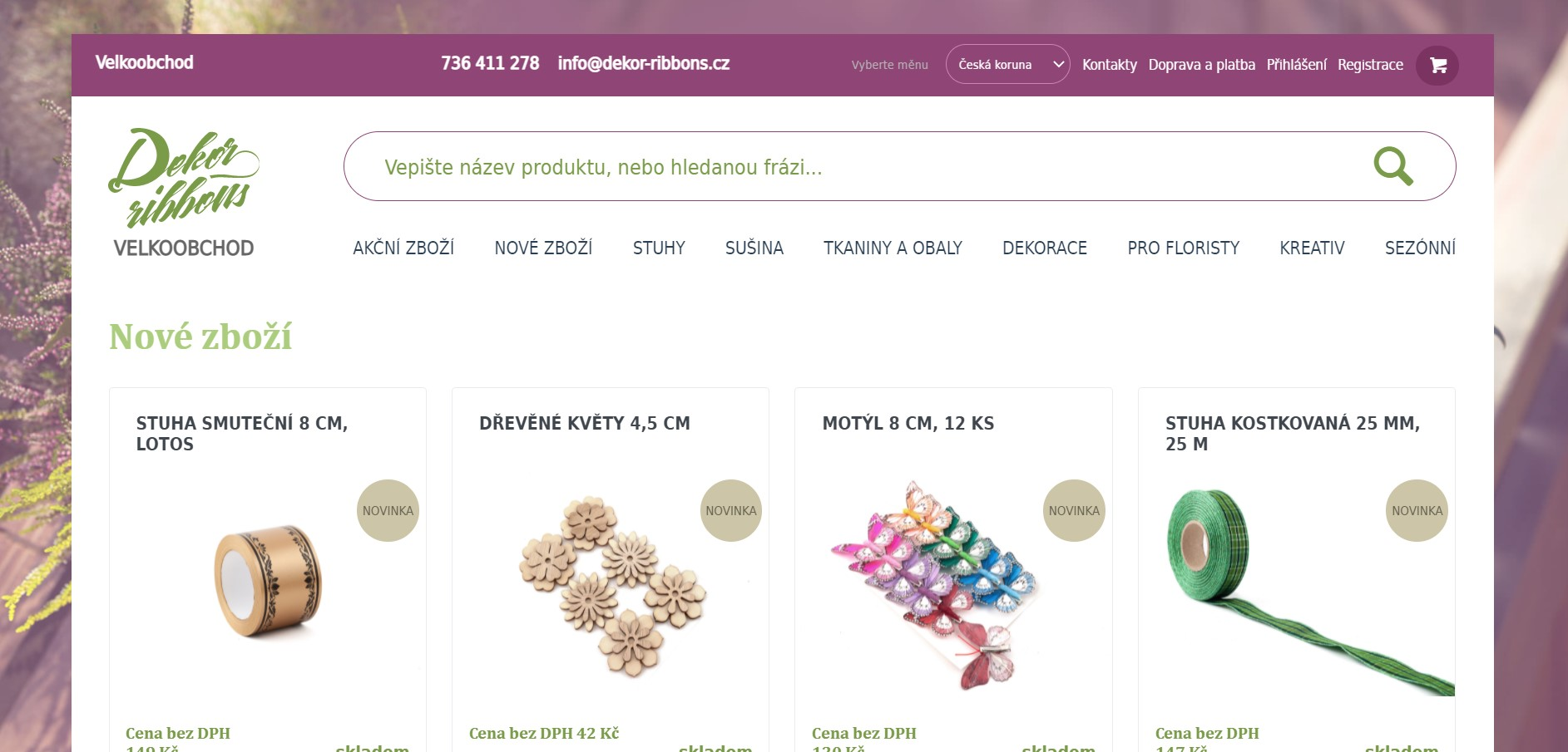 Dekor Ribbons s.r.o. - detail e-shopu